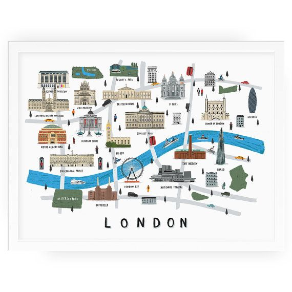 Map Of London With Famous Landmarks.London Map Illustrated Print Map Print Illustration London