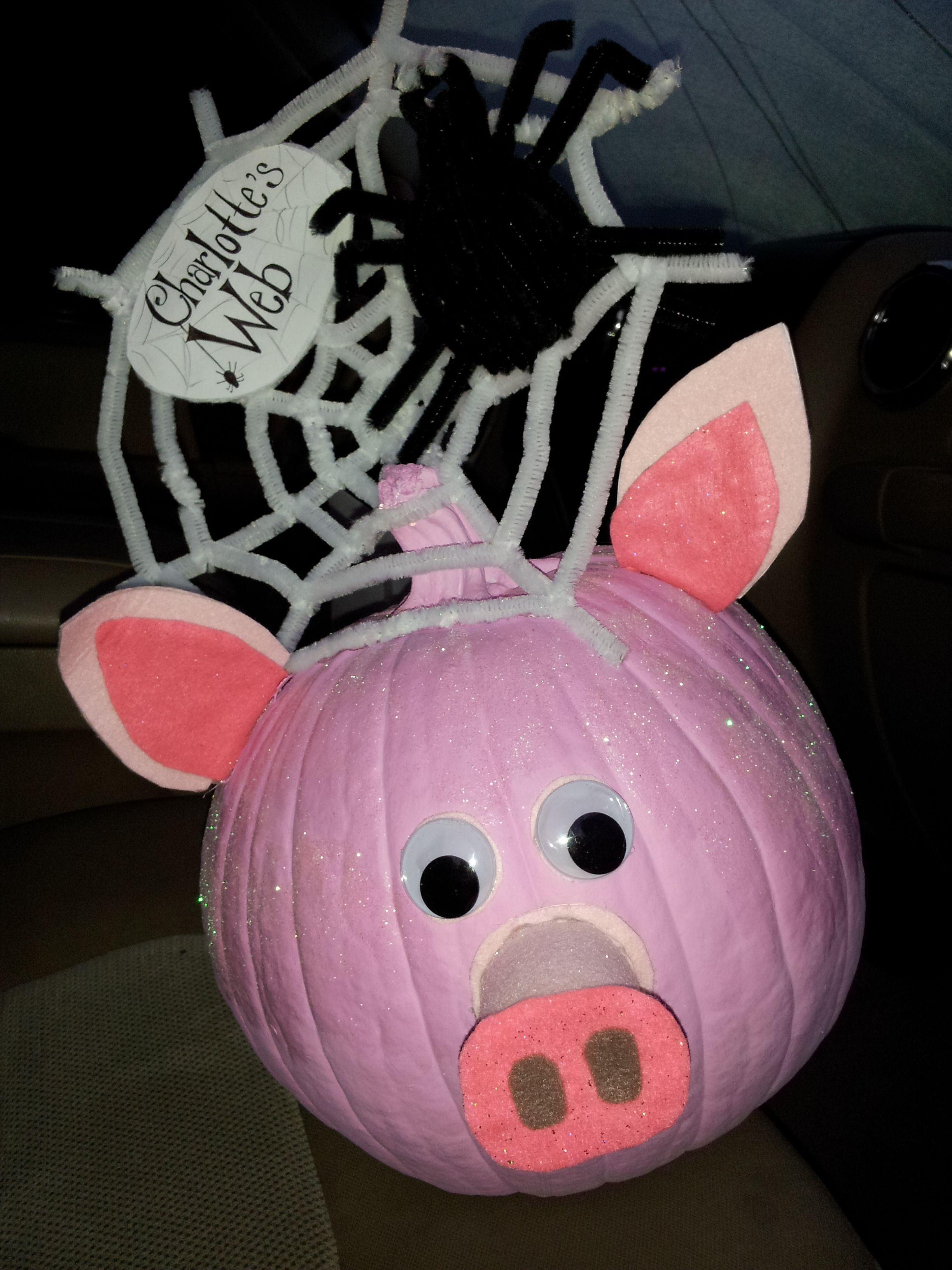 Charlotte S Web School Project Pumpkin Pink Paint Glitter Pipe Cleaners Etc And Your Imagination