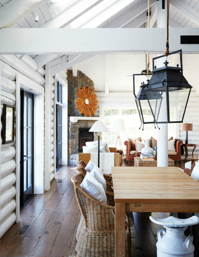 Painted Log Interiors With Images Cabin Interior Design Log