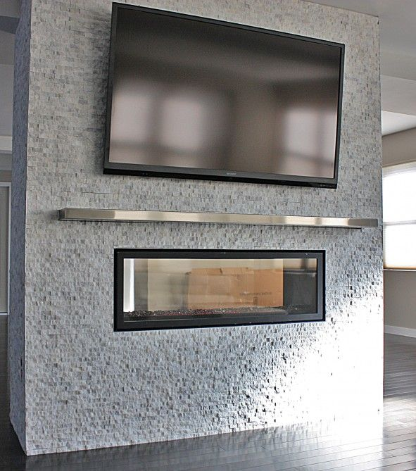 Interior Design, See Thru With Stainless Steel Mantel Shelf With ...