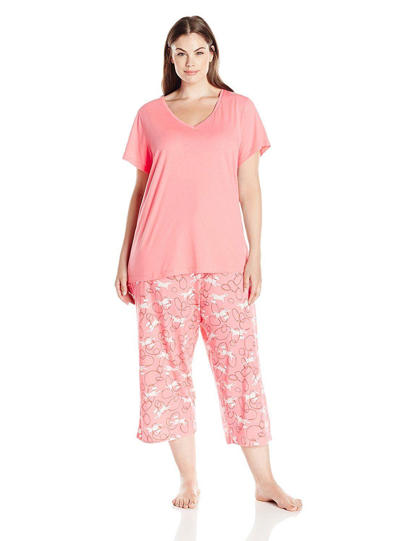 27f6da83f13 HUE Women s Plus Size Through Hoops Capri Pajama Set     Trust me ...