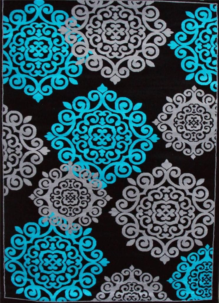 776 Turquoise Gray Black 5x7 8x10 Area Rugs Carpet