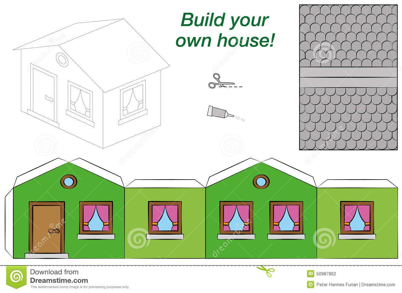 Photo About Paper Model Of A Funny Cartoon House With