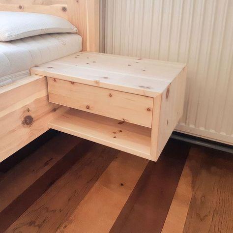 Praktisches Einhangenachtkastchen Aus Massivem Zirbenholz Durch Die Schlichte Erscheinung Passt Dieses Nachtkast Diy Bed Frame Bed Frame Design Diy Nightstand