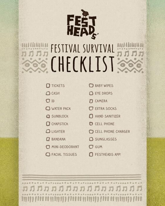 What's on your festival checklist, Jammers? (image courtesy of our friends at Festheads) #countryjam2014