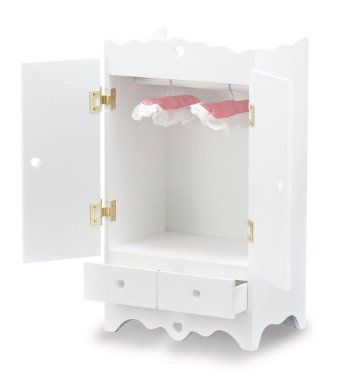 Merveilleux Melissa Doug Deluxe Wooden Doll Armoire Toy Accessories Closet Wardrobe NEW