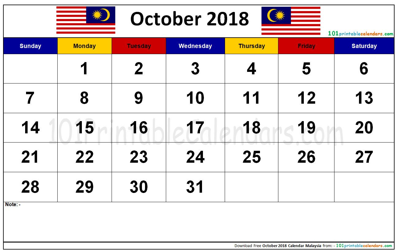 October 2018 Calendar Malaysia Calendar October Calendar October