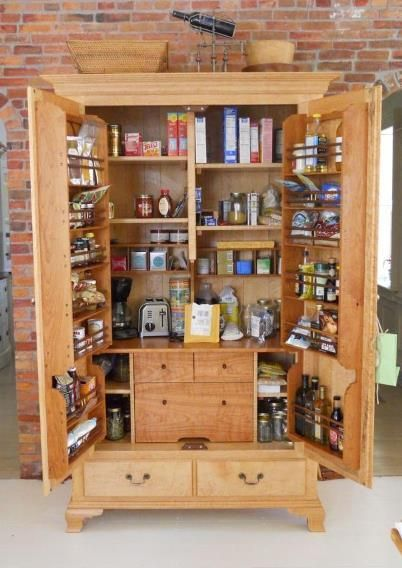 Freestanding Pantry Cabinet With Adjustable Shelves And