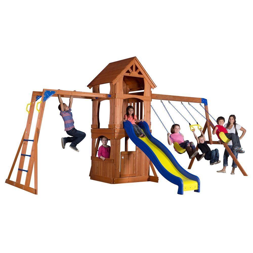 Backyard Discovery Parkway All Cedar Playset, Browns/Tans | Backyard