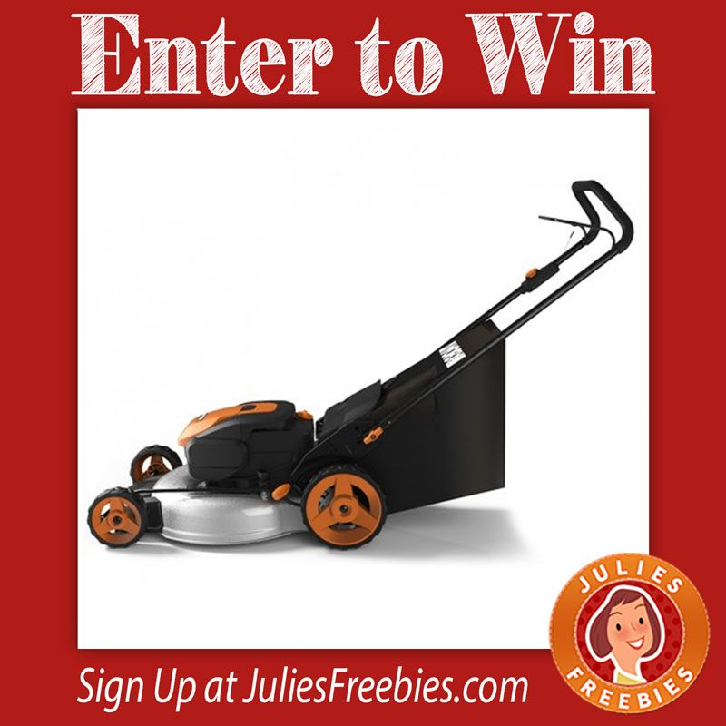 "Facebook Twitter PinterestHere is an offer where you can enter to win a WORX 56V Cordless 19"" Lawn Mower. 5 winners on this one. Ends on August 31, 2016. ENTER HERE"