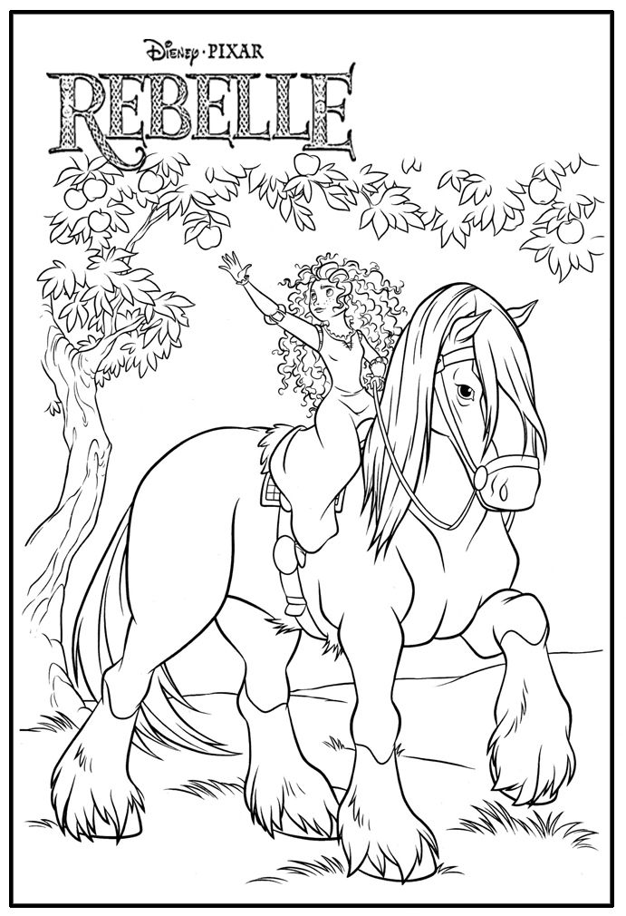Princesse merida sur son cheval angus coloriages - Princesse cheval ...