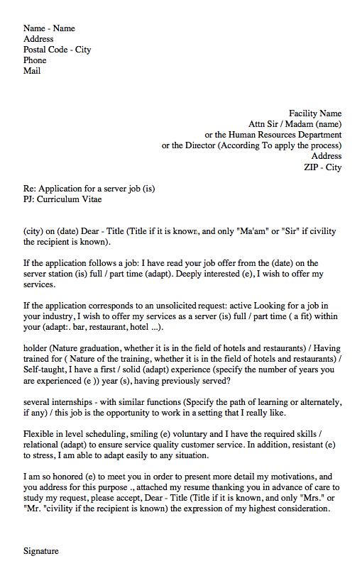 Waitress Cover Letter Sample  HttpResumesdesignComWaitress