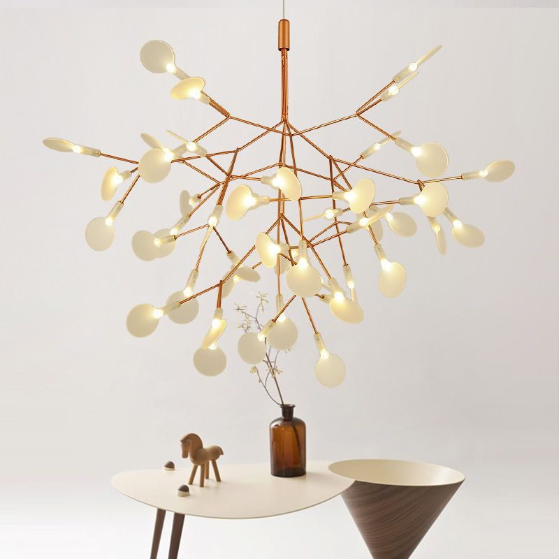 Golden Flower Firefly Dia 51cm Creative Tree Branch Led Pendant Light Natural Structure Technique Of Conductive Layers