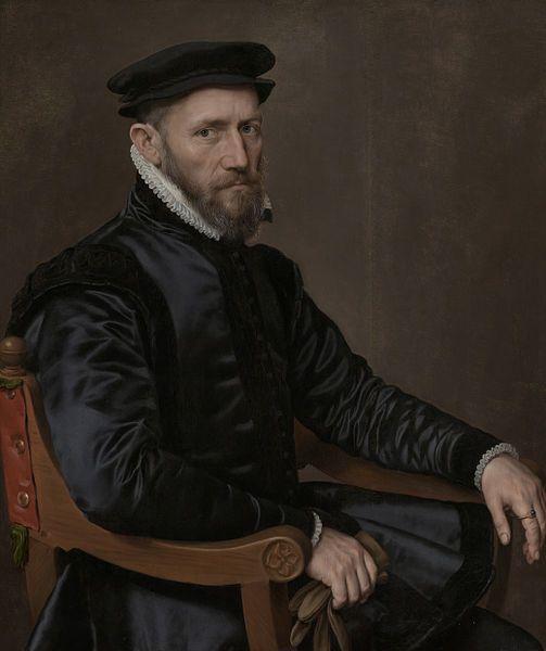 1560-65.Sir Thomas Gresham. Koopman en financieel agent der Engelse kroon in de Nederlanden, stichter van de Londense beurs en van Gresham College te Londen. Zittend in een stoel,handschoenen in de rechterhand. Antonis Mor (1519-75) Rijksmuseum Amsterdam.