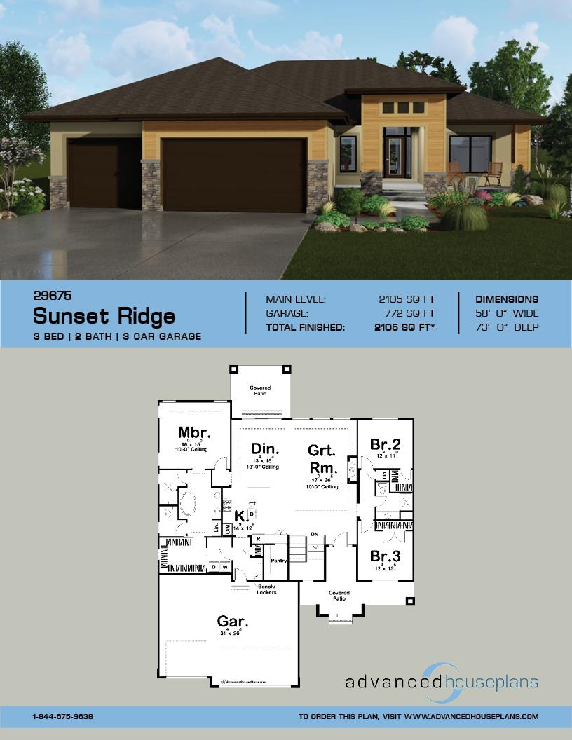 1 Story Modern Style House Plan Sunset Ridge House Plans Modern Style House Plans Prairie Style Houses