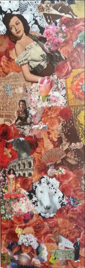 """Tableau """"Bohème""""  L'un de mes premiers collages que j'ai réalisé suite à un séjour au Saintes-Maries de la mer. Il représente le parfum, les couleurs et l'énergie que j'ai ressenti.  Dimension toile : 40 x 120 cm"""
