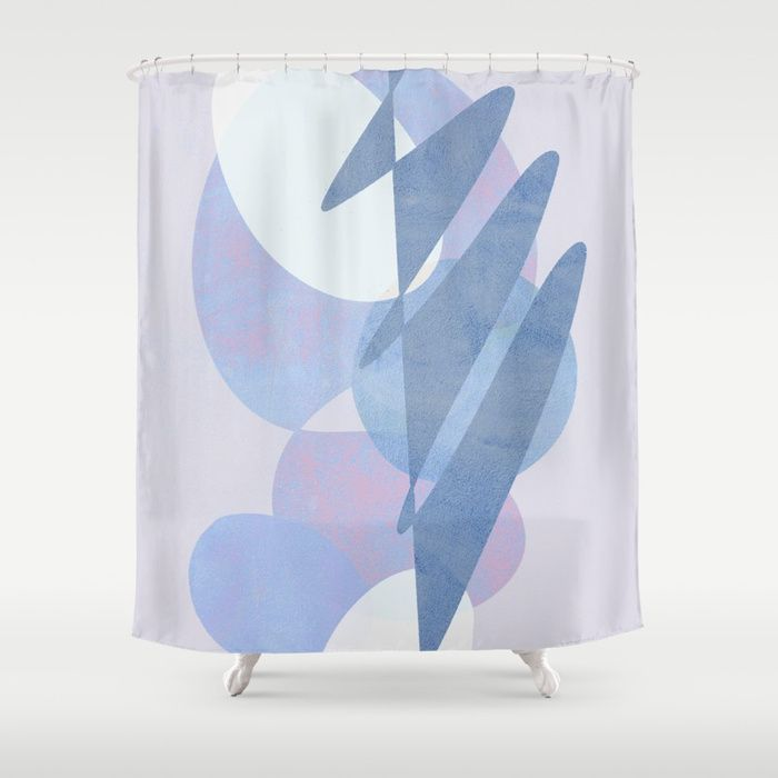Buy Minimal Pebbles Balance 1 Blue And Pink Shower Curtain By Domvariwords Worldwide Shipping Available