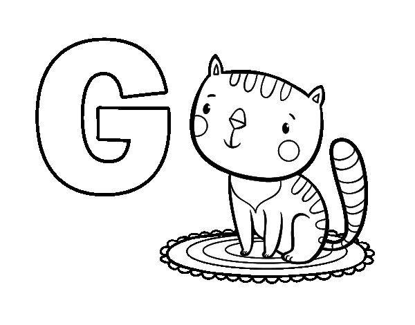 Dibujo de G de Gato para Colorear | letras | Pinterest | Gatito para ...