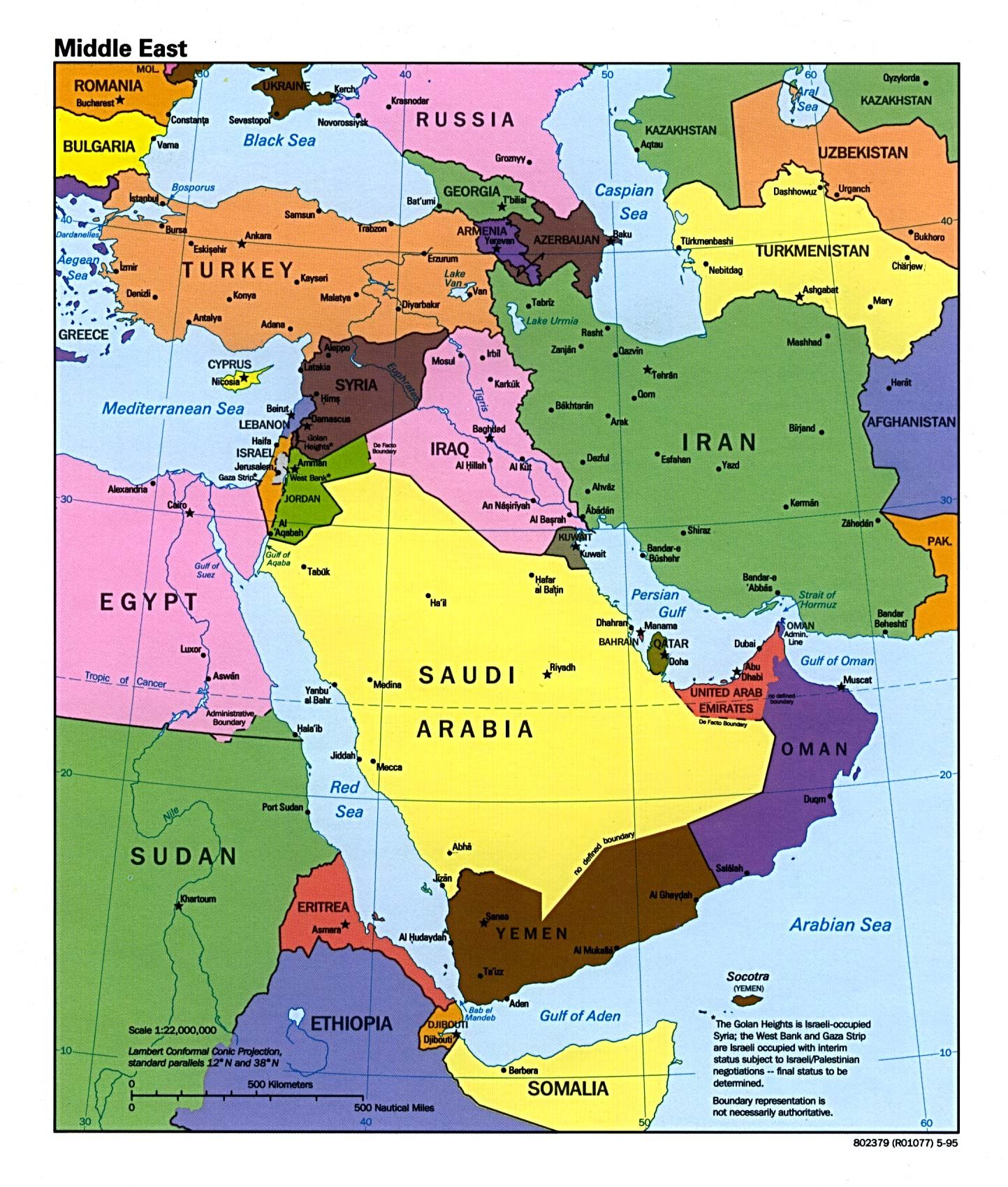 Large Map Of Middle East Easy To Read And Printable The Middle - World map quiz easy