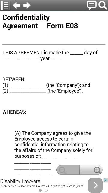 Confidentiality Agreement legal form template from smartphone - sample employee confidentiality agreement