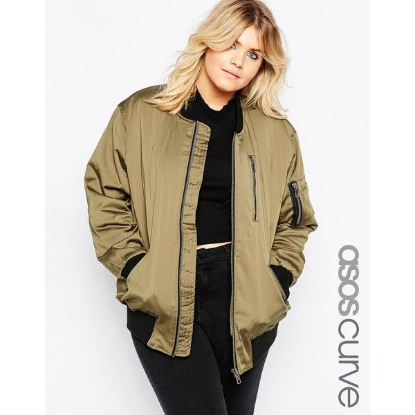ASOS CURVE Bomber Jacket with Zip Detail ($95) ❤ liked on Polyvore featuring outerwear, jackets, khaki, plus size, zipper jacket, plus size jackets, bomber jacket, zip jacket and blouson jacket