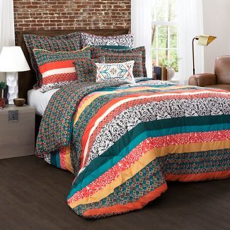 Full/Queen 7pc Boho Stripe Comforter Set Turquoise/Tangerine - Lush Dcor