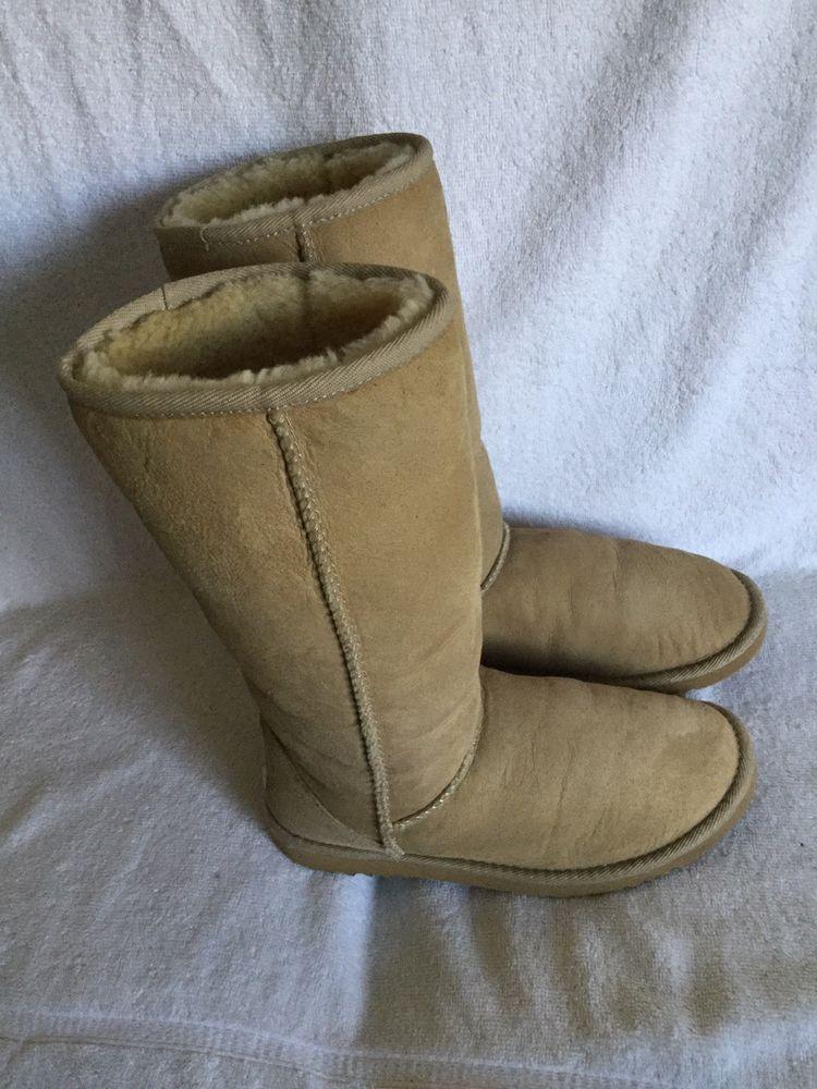 231a63db788 UGG Australia Women's Classic Tall Tan Sheepskin Boots Size W 6 ...