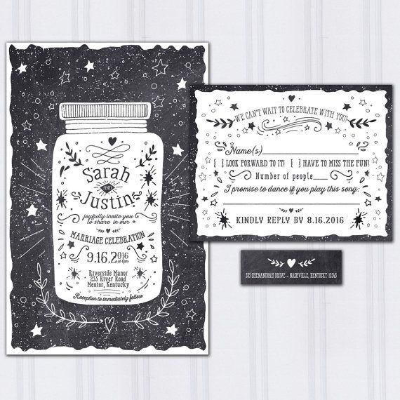 Chalkboard Wedding Invitation, Mason Jar Wedding, Doodle Wedding Invitation, Hipster Wedding, Discount Wedding Invites, SAMPLE