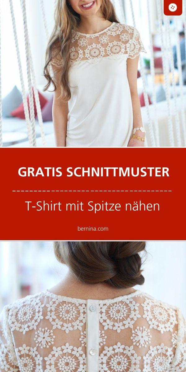 Kostenloses Schnittmuster für ein Shirt mit Spitze
