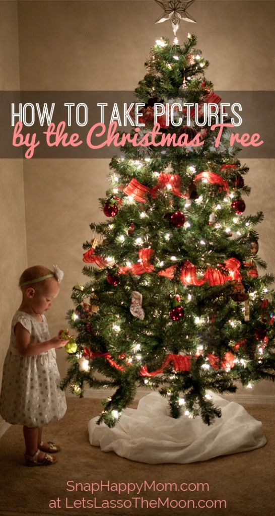 How To Take Christmas Tree Portraits with a Blurry Background - Snap Happy Mom