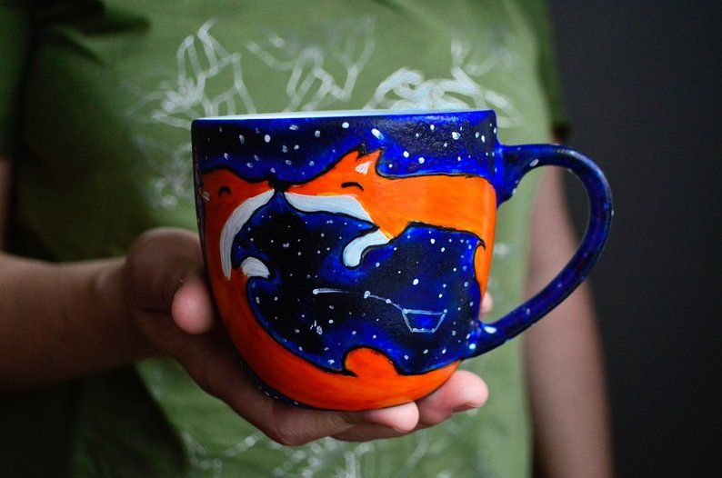 Fox custom mug hand painted starry night coffee mug with