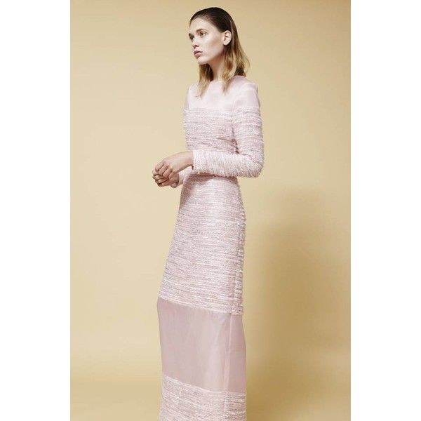 Plakinger Pink Tweed And Silk Organza Evening Gown ($1,221) ❤ liked ...