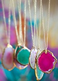 Agate  --would make great bridesmaid gifts, and they could wear them in the ceremony, a different wedding color each