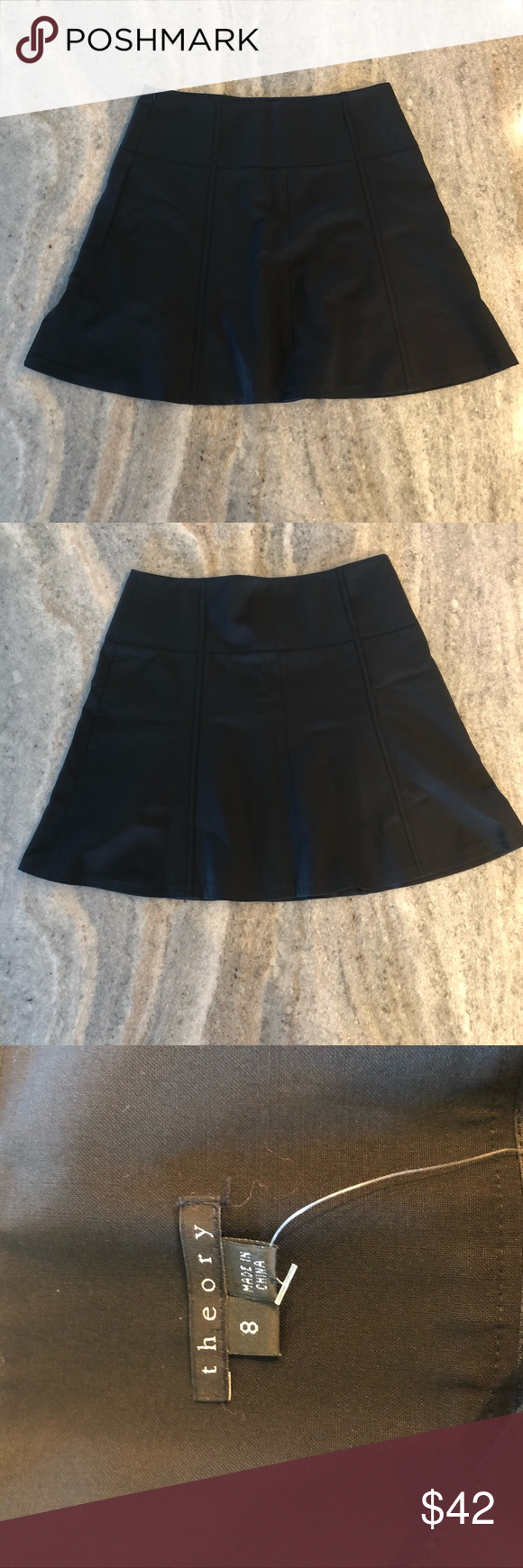 "10b6e86ca8 Theory Black A-Line Flare Short Skirt Size 8 EUC Theory Black A-Line Flare  Short Skirt EUC—Missing Fabric Tag Size 8—Approx Measurements Length 18""  Waist ..."