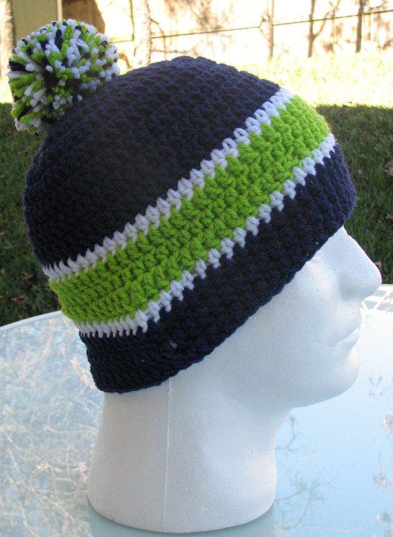 Seattle Seahawks Crocheted Skull Cap Beanie Game Day Gear Handmade