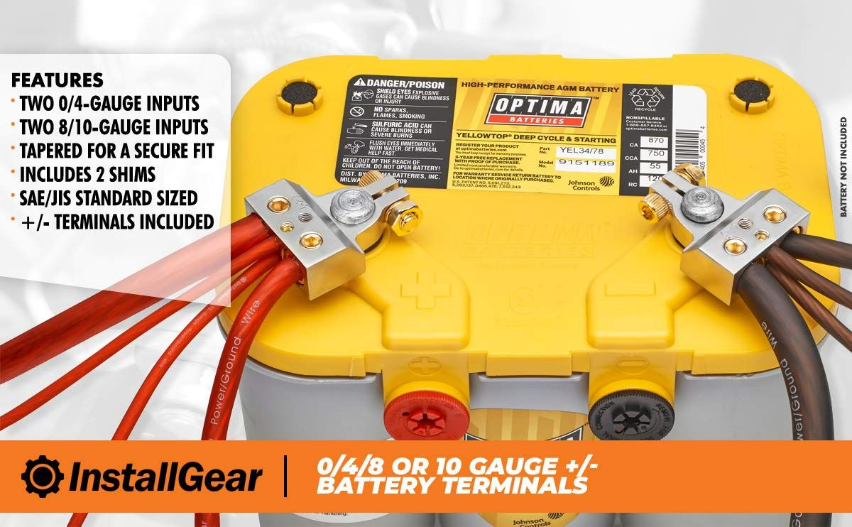 Installgear 0 4 8 Or 10 Gauge Battery Terminals With Shims Positive And Negative Ad Gauge Battery Battery Terminal Battery Positive And Negative