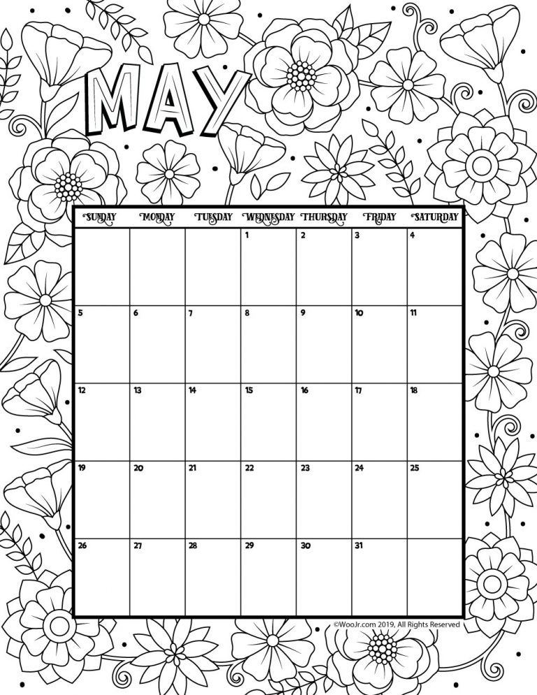 May 2019 Coloring Calendar Kids Calendar Calendar 2019