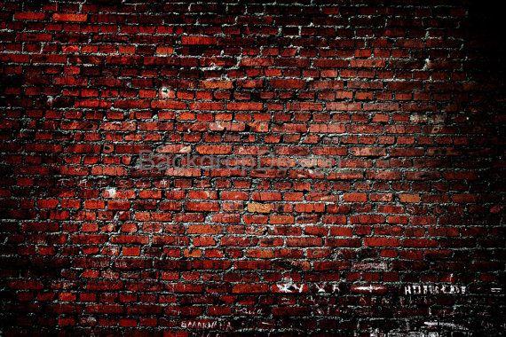 Red Brick Wall Backdrop Vintage Dark Old Bricks Printed