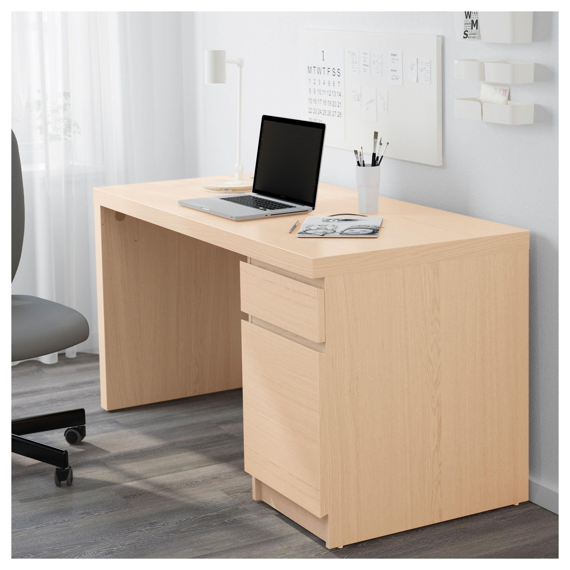 IKEA   MALM Desk White Stained Oak Veneer
