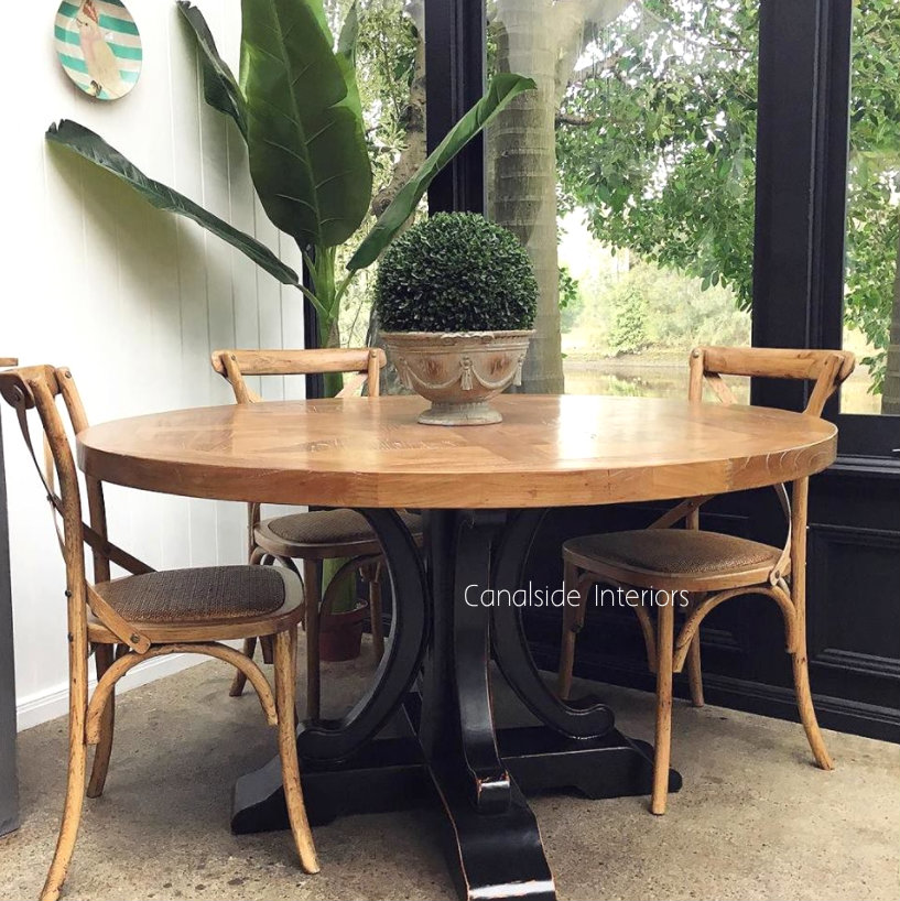 Artisan Parquetry Top Round Dining Table Natural With Distressed Black Base 3 Sizes Dining Table Round Dining Table Round Dining