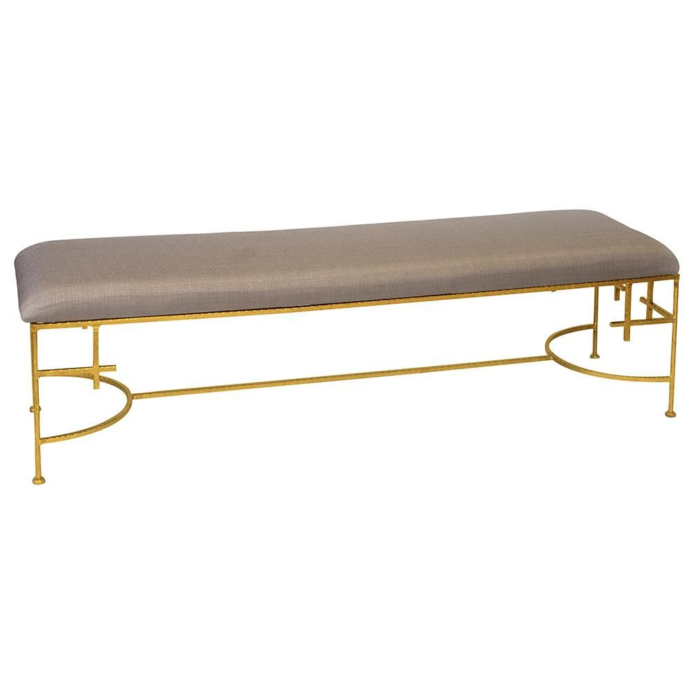 Worlds Away Modern Gold Leaf Bench Beige Linen In 2020 Upholstery Couch Upholstery Upholstery Foam