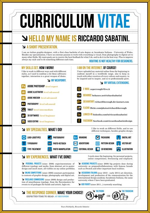 35 Cool Infographics for Web and Graphic Designers Graphic - graphic artist resume