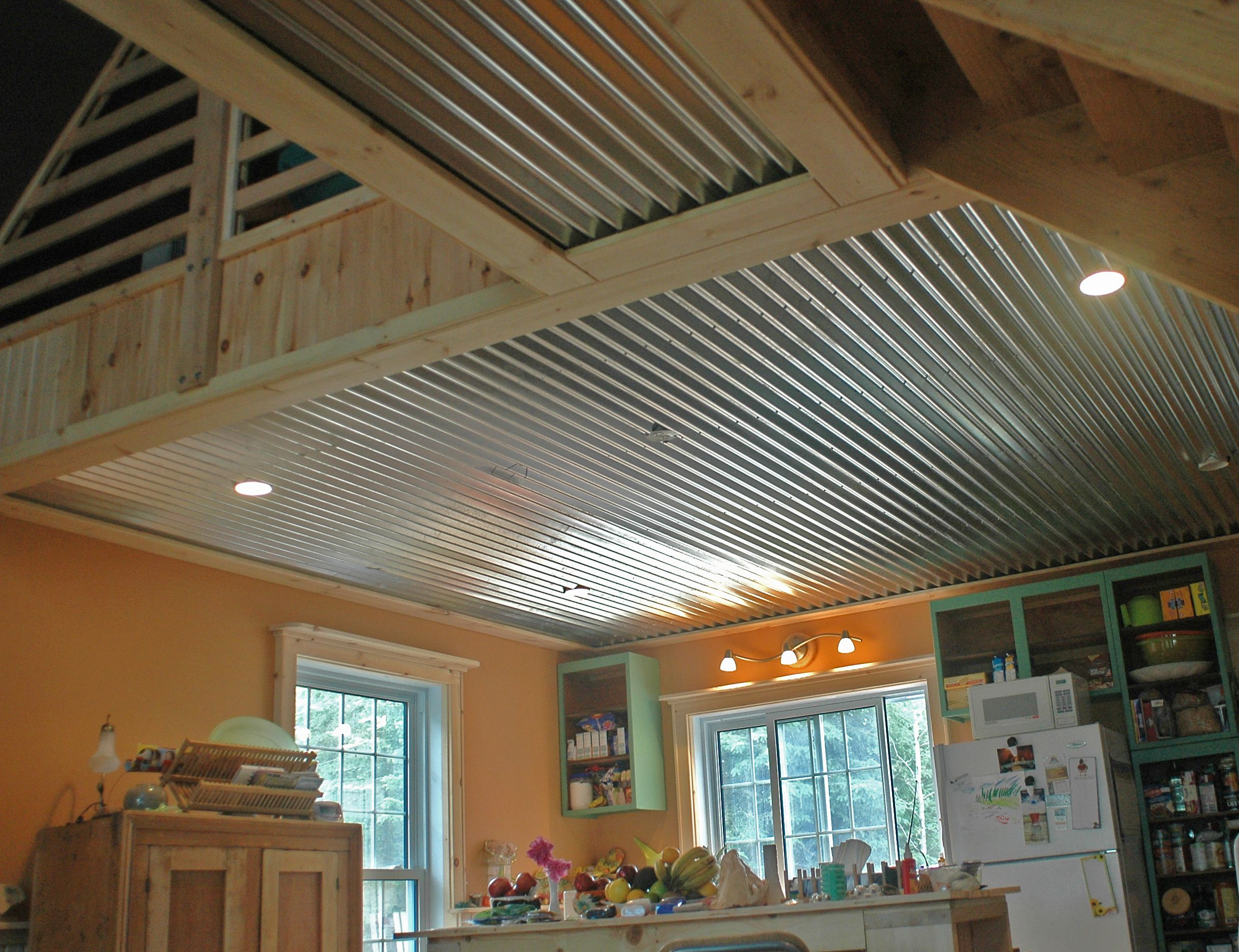 Corrigated metal ceilingz interested in moving beyond for Metal barn over basement