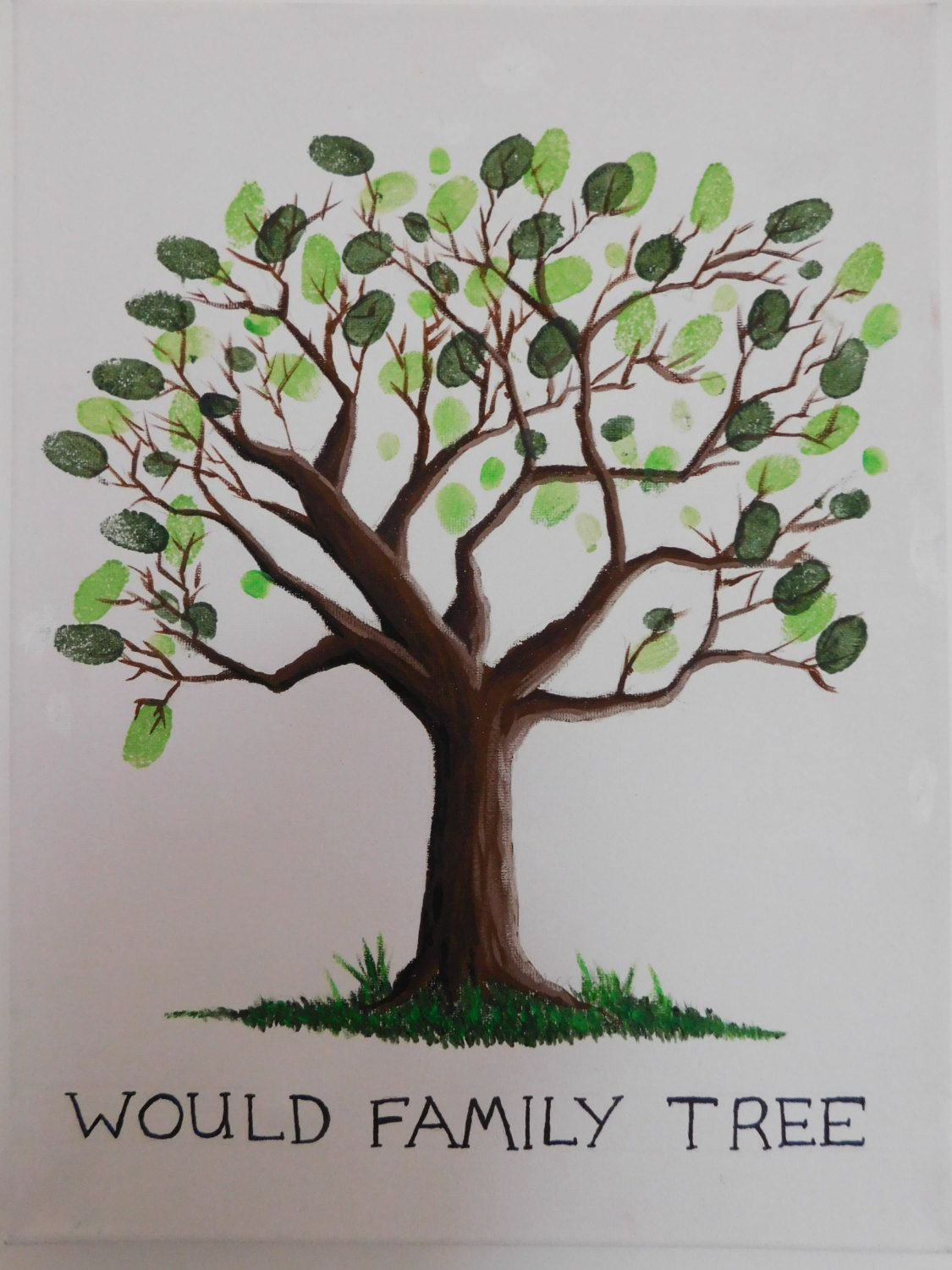 Hand Painted Fingerprint Tree Canvas By