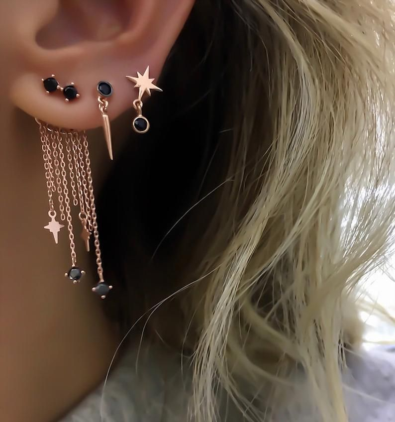 Silver Huggie Cubic Zirconia Earrings Northern Star 14K Rose Gold Plated