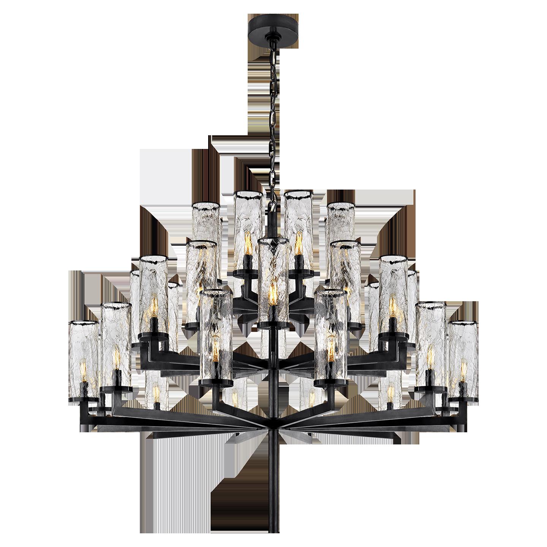Liaison Triple Tier Chandelier In Bronze With Crackle Glass Visual Comfort Chandelier Ceiling Lights Chandelier