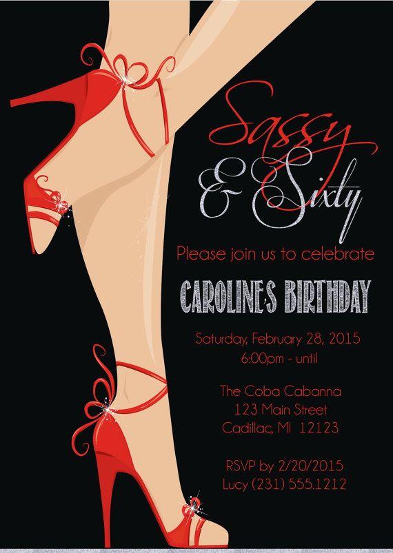 Red shoe 60th birthday invitation womens sassy sixty birthday red shoe 60th birthday invitation sassy sixty by fabpartyprints filmwisefo