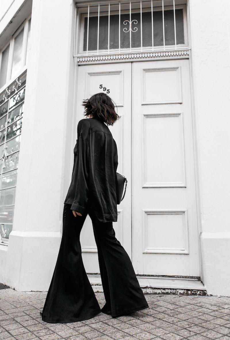 pyjama trend silk separates Ellery flares Haider Ackermann Givenchy Antigona Medium minimal all black ootd street style inspo…