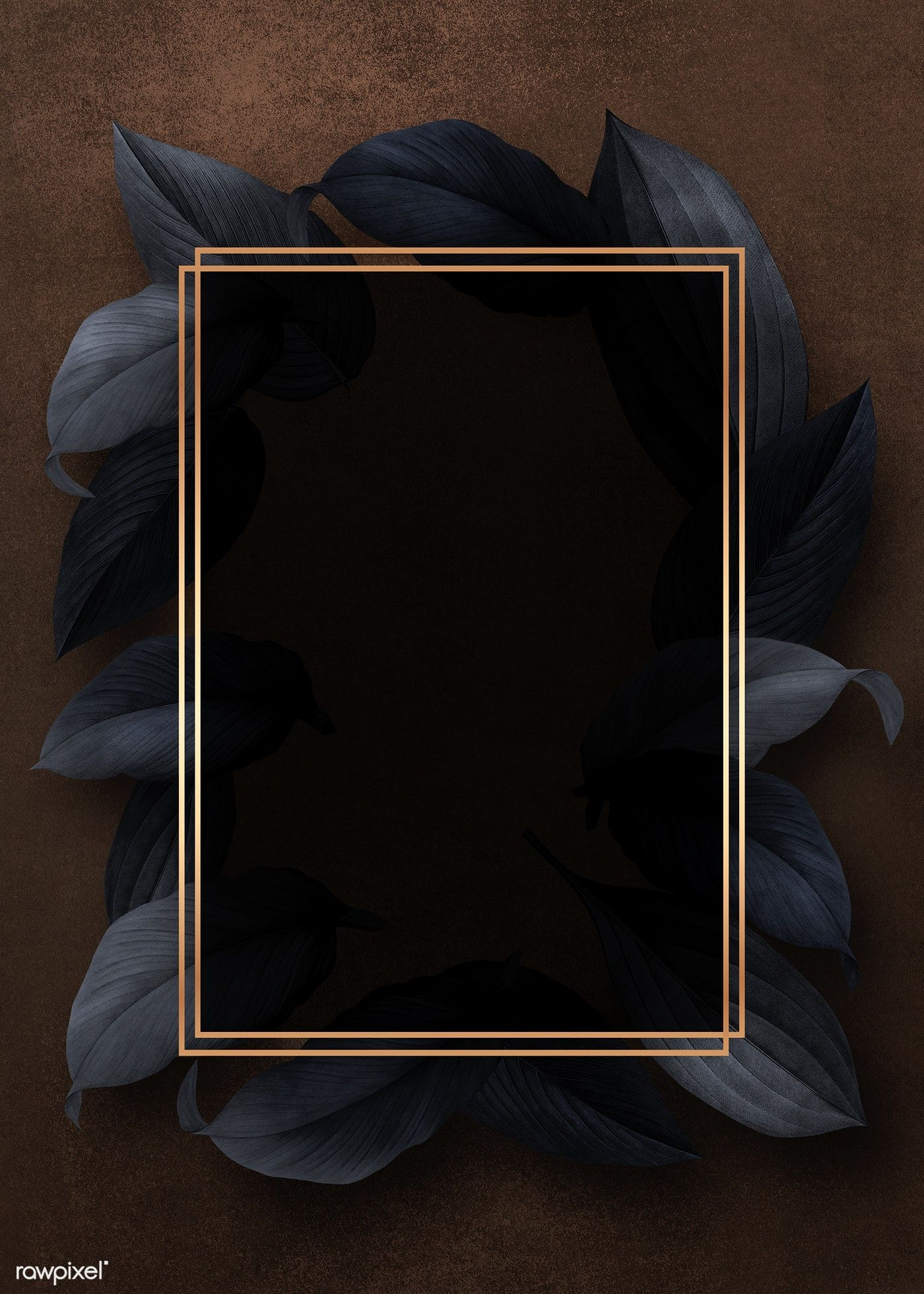 Golden frame on a black leafy background illustration   free image by rawpixel.com / Kappy Kappy