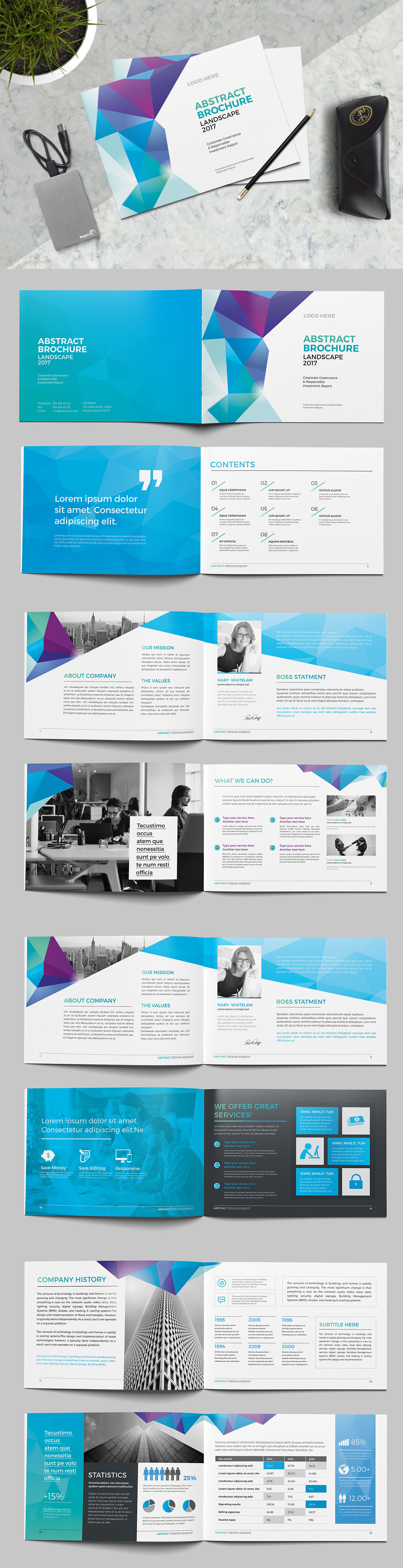 Abstract Landscape Brochure Template Indesign Indd  Brochure